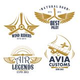 Vector retro icons for aviation airplane pilots. Aviation pilots and retro airplane icons. Vector isolated set of aircraft propeller and wings for avia customs stock illustration