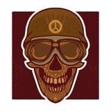 Vector retro illustratie van menselijk schedelhoofd Royalty-vrije Stock Foto
