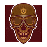 Vector retro illustration of human skull head Royalty Free Stock Photo