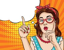 Vector retro illustration pop art comic style of a pretty woman in eyeglasses  pointing finger up. Vintage poster of a girl showing something Stock Photos