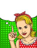 Vector retro  illustration of pop art comic style of a pretty woman pointing finger up. Vector retro  illustration of pop art comic style of a pretty woman in Stock Photography