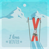 Vector retro illustration with snowy mountains and skis Royalty Free Stock Photo