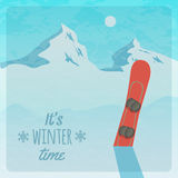 Vector retro illustration with snowy mountains and snowboard Stock Photography