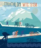 Vector retro illustration triathlon. Royalty Free Stock Photo