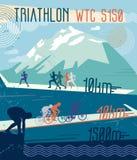 Vector retro illustration triathlon. Royalty Free Stock Photo