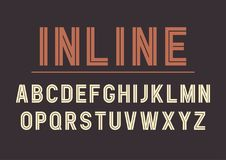 Vector retro inline bold font design, alphabet, typeface  Royalty Free Stock Images