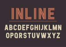 Vector retro inline bold font design, alphabet, typeface. Vector retro inline bold font design, alphabet, typeface, typography. Vector illustration Royalty Free Stock Images
