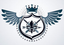 Vector retro insignia design decorated using vintage elements li. Ke monarch crown, eagle wings and armory Stock Photo