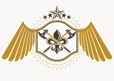 Vector retro label design decorated with eagle wings and made us Royalty Free Stock Image