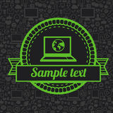 Vector retro label with laptop icon Stock Images