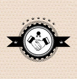 Vector retro label: stylized handshake Royalty Free Stock Photo
