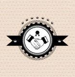 Vector retro label: stylized handshake Royalty Free Stock Photo