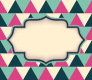 Vector retro layout on abstract geometric seamless pattern Stock Image