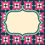 Vector retro layout on abstract geometric seamless pattern Royalty Free Stock Image
