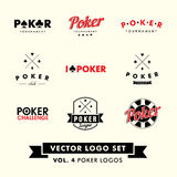 Vector retro Logo Set del póker del inconformista del vintage Imagen de archivo libre de regalías