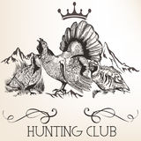 Vector retro logotype design for hunter club, badges etc Royalty Free Stock Photo