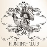 Vector retro logotype design for hunter club Stock Photography