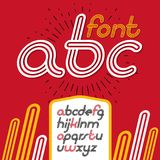 Vector retro lowercase English alphabet letters, abc collection. Cool disco cursive font, script from a to z can be used in poster art. Created using triple Royalty Free Stock Photos