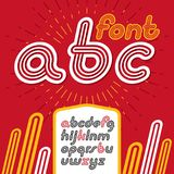 Vector retro lowercase English alphabet letters, abc collection. Cool disco cursive font, script from a to z can be used in poster art. Made with triple stripy Royalty Free Stock Photo