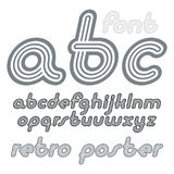 Vector retro lowercase English alphabet letters, abc collection. Cool italic disco font, script from a to z can be used in poster art. Created using geometric Royalty Free Stock Photography