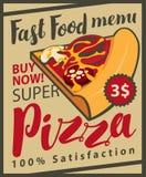 Vector Retro Menu with slice of pizza Royalty Free Stock Photos