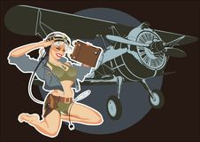 Vector retro military pin-up Royalty Free Stock Photography