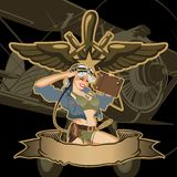 Vector retro military pin-up vector illustration