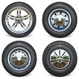 Vector Retro and Modern Car Wheels Side View Royalty Free Stock Images