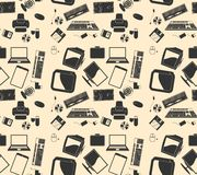 Vector retro computer. background pattern royalty free illustration