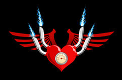 Vector retro motor heart on black. Vector illustration of a heart with wings and flames isolated on black background Royalty Free Stock Photography