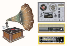 Vector retro music equipments on soft light background. Retro music equipments on soft light background Stock Photography