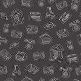 Vector retro naadloos patroon met oude technologie, juke-box, radio, schrijfmachine vector illustratie