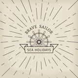Vector retro nautical logo template Stock Photo
