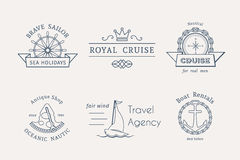 Vector retro nautical logo templates Royalty Free Stock Images