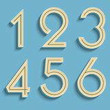 Vector retro numbers. Volumetric numbers. Vintage typography. Royalty Free Stock Photography