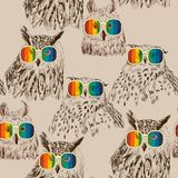 Vector retro owls Stock Photo