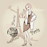Vector Retro Paris. Fashinable Girl Royalty Free Stock Photography