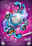 Vector Retro Party Flyer Design with speakers pink background. Stock Image