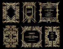 Vector retro pattern for vintage party. Gatsby style, Art Deco geometric gold pattern Stock Images