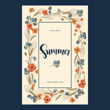 Vector retro postcard with colorful field flowers and hand drawn word summer in a square frame. Vector retro greeting postcard with colorful field flowers and Stock Images