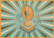 Vector retro postcard with gramophone Royalty Free Stock Photo