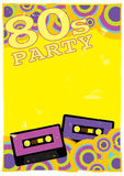 Vector Retro Poster. 80s Party Flyer With Audio Cassette Tape Stock Image