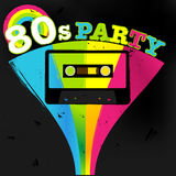 Vector Retro Poster. 80s Party Flyer With Audio Cassette Tape Stock Images