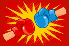 Red and blue gloves. Vector retro poster for a boxing with two gloves. Retro emblem for boxing with red and blue gloves on vintage background Royalty Free Stock Photo