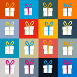 Vector Retro Present Boxes Set. Colorful Vector Retro Present Boxes Set Stock Photos