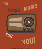Vector retro radio  for vintage poster Royalty Free Stock Images