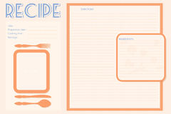 Vector retro recipe card layout Royalty Free Stock Images