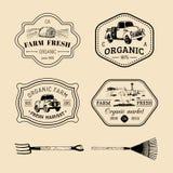 Vector retro reeks landbouwbedrijf verse logotypes Uitstekende etiketten met hand geschetste landbouwmachineillustraties Stock Afbeeldingen