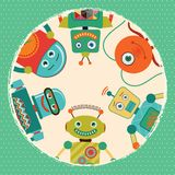 Vector Retro Robots Card Illustration Stock Photo