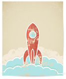 Vector retro rocket with grunge texture. Vector illustration of retro rocket with grunge texture royalty free illustration